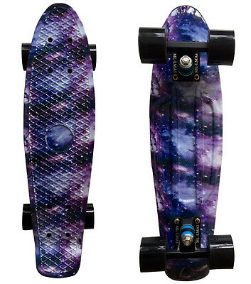 "LMAI 22''/27"" Cruiser Skateboard Penny Style Graphic Galaxy Space Plastic Board"