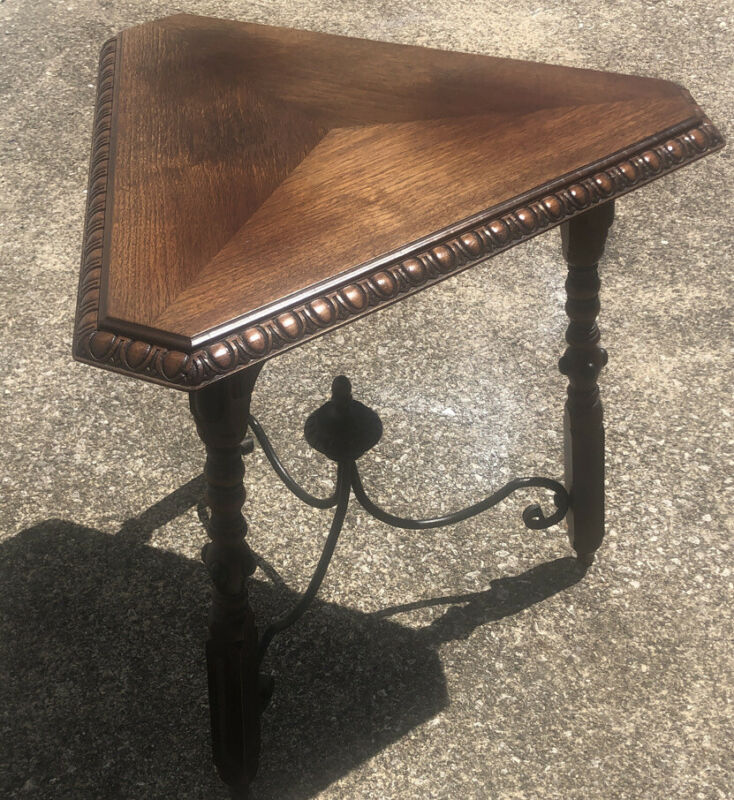 Antique 40's 3 Leg Walnut & Iron Triangle Table Colonial & Monterey Style