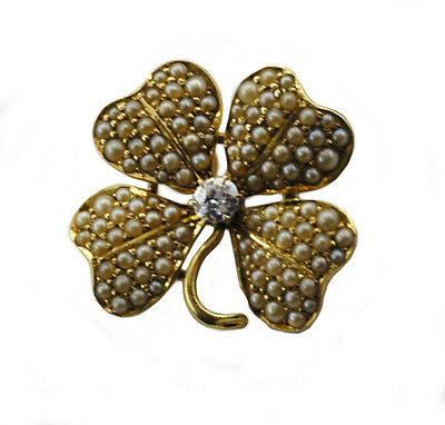 Antique 1800's Diamond  Natural Seed Pearls 14k Gold Shamrock Pin Brooch Pendant