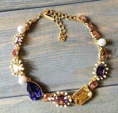 Oscar De La Renta Gold Tone with Purple Crystal Necklace signed Gold Tone Purple Crystal