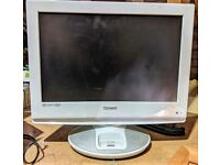 """White 19"""" Technika LCD HD TV with DVD/Ipod dock/DVB freeview. No remote"""