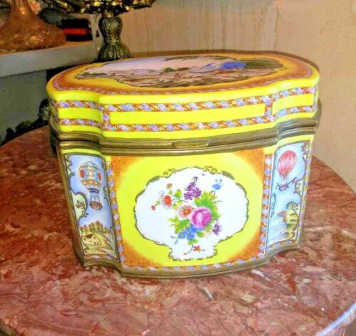 Vintage Huge Bronze and Porcelain Old Paris Jewelry Box.
