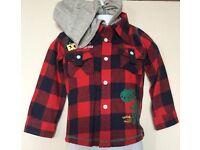 Minoti Baby Red Check Woolen Hooded Shirt BRAND NEW