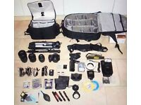 Nikon D3200 with lenses and kit