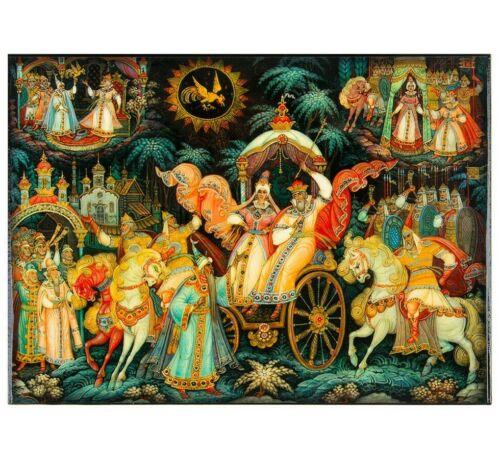 Palekh Style Russian Trinket Box w/ Pushkin Fairytales Print, Keepsake 5x7 inch