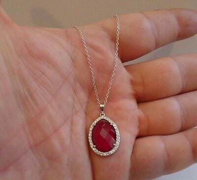 925 STERLING SILVER DESIGNERS NECKLACE  PENDANT W/ 8 CT RUBY & DIAMOND/18''