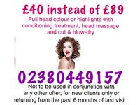 🎀 £40 instead of £89 full head colour or highlights with cut & blowdry 🎀