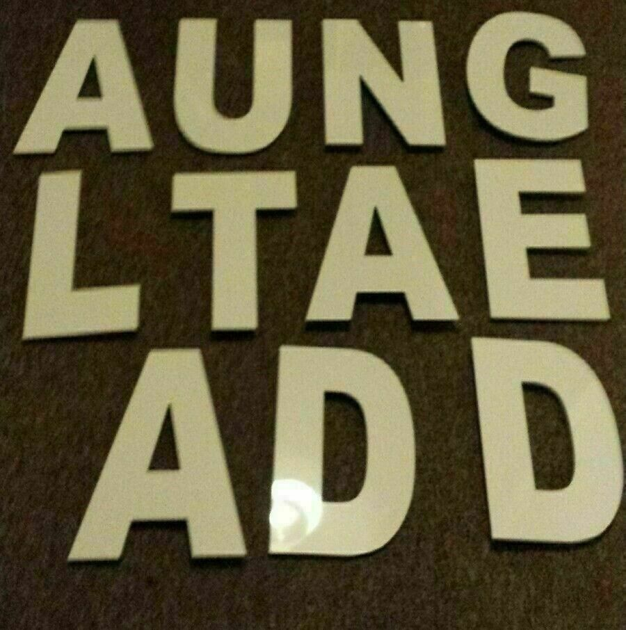 11 SHOP SIGN LETTER WHITE PERSPEX EACH LETTER 32CM IN LENGTH- 20CM IN WIDTH.