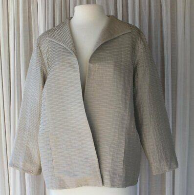 Eileen Fisher Textured Silk Open Jacket  Sz Large