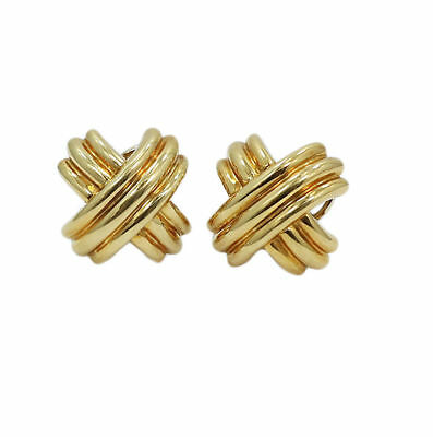 Tiffany & Co. 18K Yellow Gold Signature X Clip On Earrings in Tiffany Pouch Box