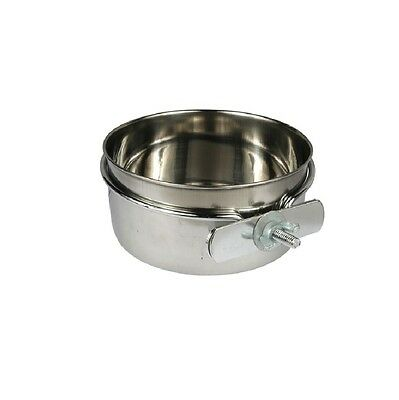Coop Cup with Clamps Bowl for Dogs & Pet - 10 oz - Cages Kennels Stainless Steel