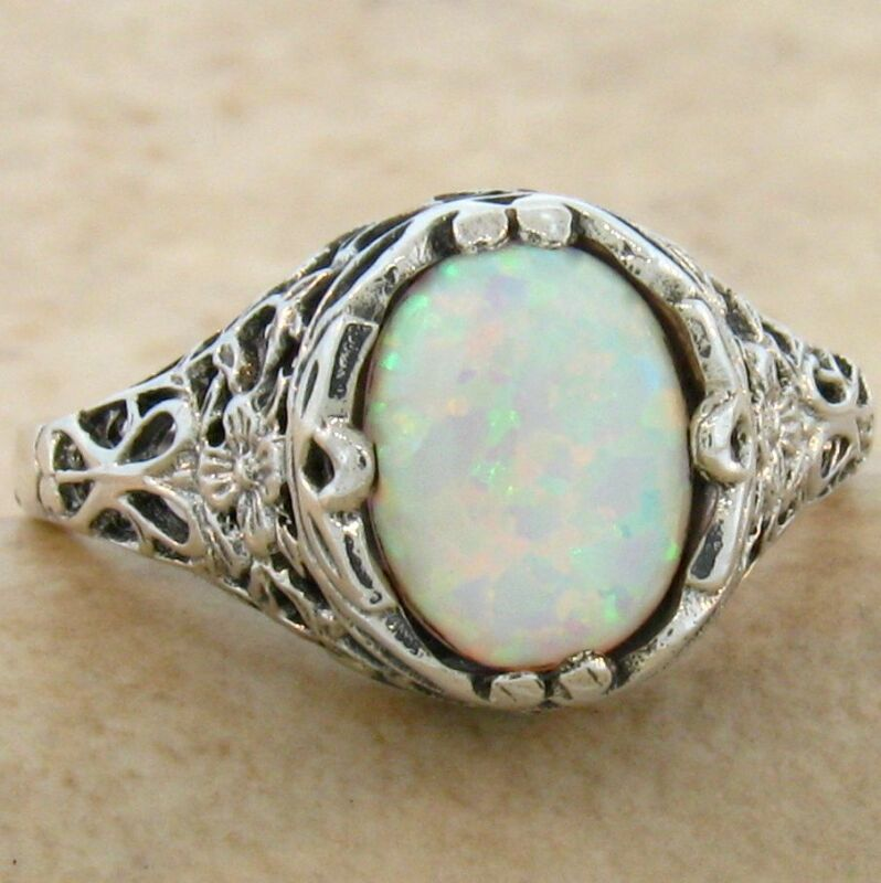 VINTAGE VICTORIAN STYLE .925 STERLING WHITE LAB OPAL SILVER RING,           #798