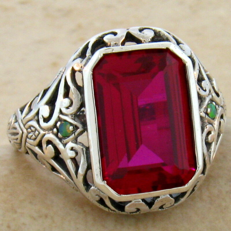 5 CT. RED LAB RUBY & OPAL ANTIQUE DESIGN .925 STERLING SILVER RING,         #495