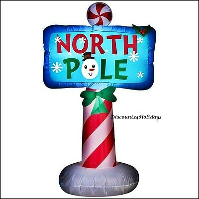Gemmy Peppermint North Pole Inflatable Sign Led Pre Lit Christmas Yard Display