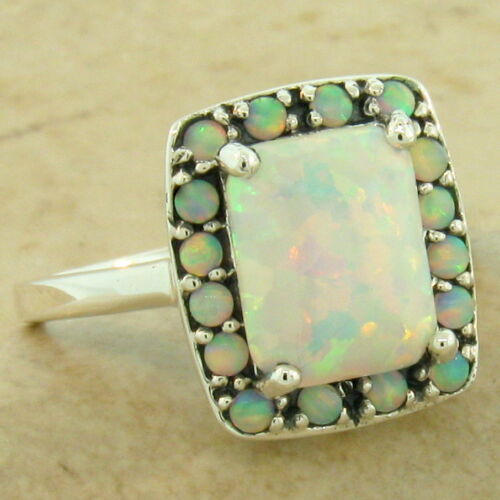 PRINCESS RING 925 STERLING SILVER ART DECO ANTIQUE STYLE LAB OPAL RING,    #1081