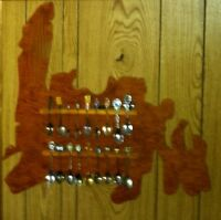 Newfoundland collector spoon display rack and 18 Plus spoons