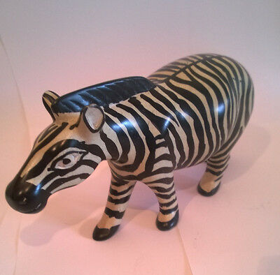 Soapstone Zebra hand carved and painted 18cm