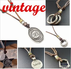 Collier-bijoux-pendentif-Femme-Homme-DIESEL-amp-timberland-vintage-veritable-cuir