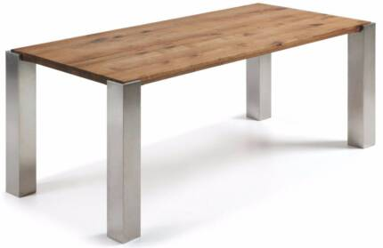 Brand New Oak & Stainless Steel Dining Table (1.8 & 2m)