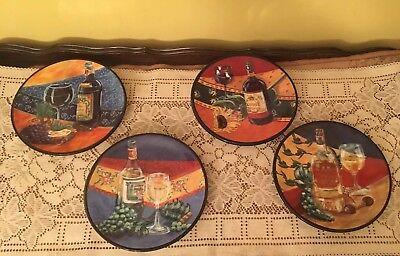 "Napa Valley Set of 4  8"" Wine Dessert Plates"