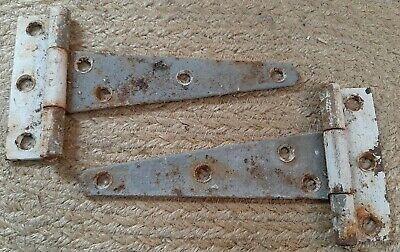 "pr set 2 rustic 13/"" old Iron Strap Hinges self threading Pintle tombstone design"