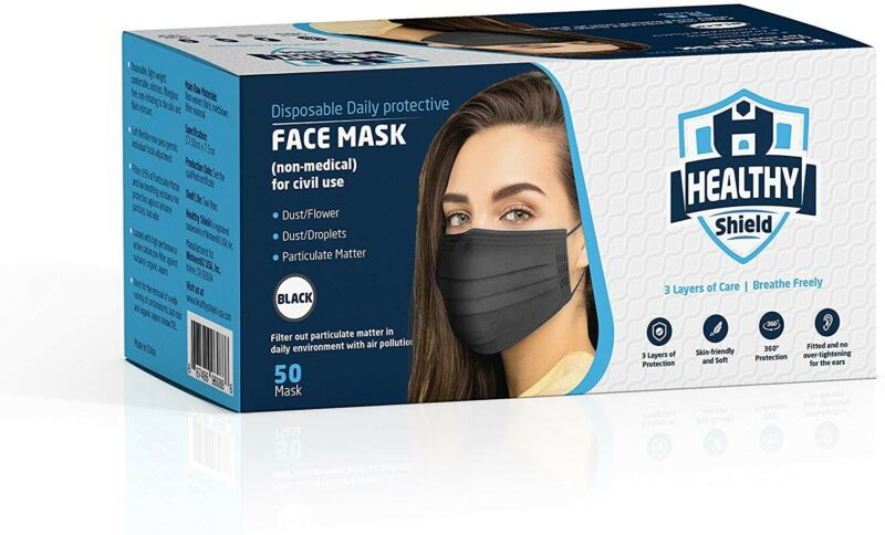 50 PCS Black Face Mask Mouth & Nose Protector Respirator Masks USA Seller