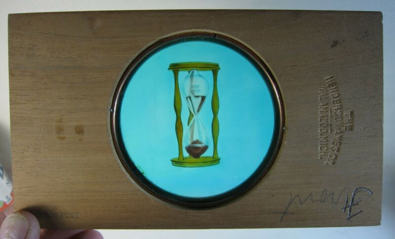 Antique Magic Lantern Glass Slide Odd Fellows Symbols HOUR GLASS Wood Frame