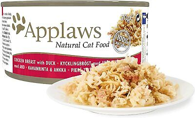 Applaws 100% Natural Wet Cat Food, Chicken with Duck Can, 70g (Pack of 24)