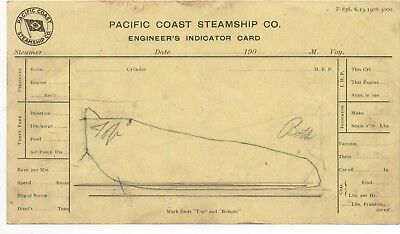 1908 Pacific Coast Steamship Co Engineer's Indicator Card for sale  San Francisco