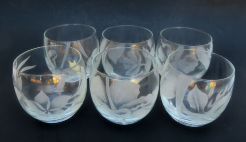 Vintage Arts Hawaii Frank Oda Etched Floral Glass 6 Roly Poly Original Box