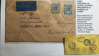 1933 Bukoba Tanganyika First Northbound Flight Cover FFC To Heliopolis Egypt
