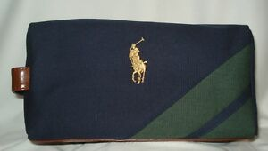 Ralph Lauren Polo Cosmetic ~Travel Case Bag with Logo Navy   Green Canvas  Mans 22bc3525beaee