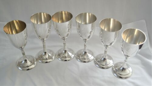 Six Hand-Crafted Vintage Spanish Sterling Silver Wine Goblets NO MONO!
