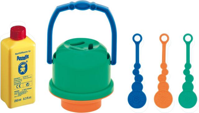 Pustefix Seifenblasenspiel Bubbel Eimer Verschüttnix 3 Stäbe 250 ml Flüssigkeit