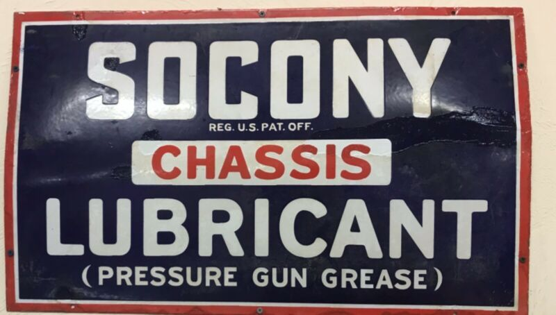 antique socony porcelin sign