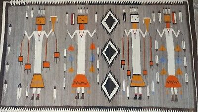Navajo Beautiful Native American Yei Rug-Natural Dyes-c1920s    ()