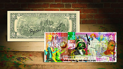 STAR WARS * THE FORCE AWAKENS * Colorized U.S. $2 Bill - SIGNED By Artist Rency
