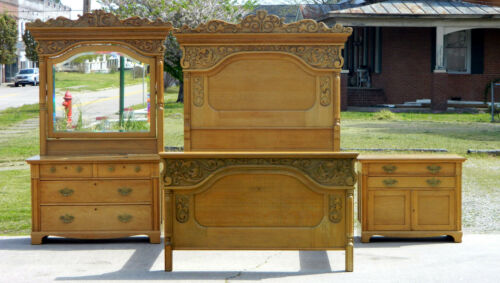 High Back Tiger Oak 3 Piece Bedroom Set~~Bed~~Dresser~~Washstand
