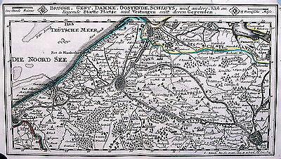 Antique map, Brugge, Gent, Damme, Oostendede, Schluys
