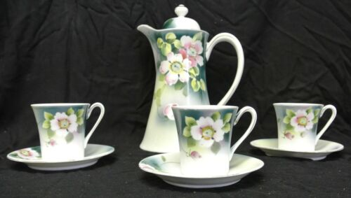 Vintage  Nippon Chocolate Set Handpainted Dogwood Chocolate Pot 3 Cups & Saucers