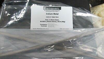 Indium Metal Rod 3.38mm Diam. 99.999 Metals Basis 25cm 98g