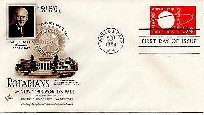 US FDC U546 WORLD'S FAIR, 1ST CACHET ROTARY CLUB FLUSHING NY 5189