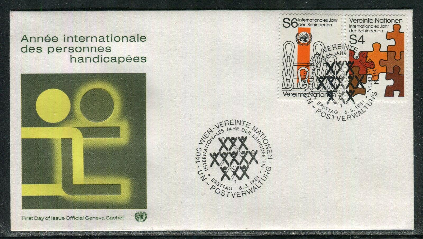 UN-Vienna 18-19, 1981 International Year Of The Disabled, OGC FDC No Address - $0.89