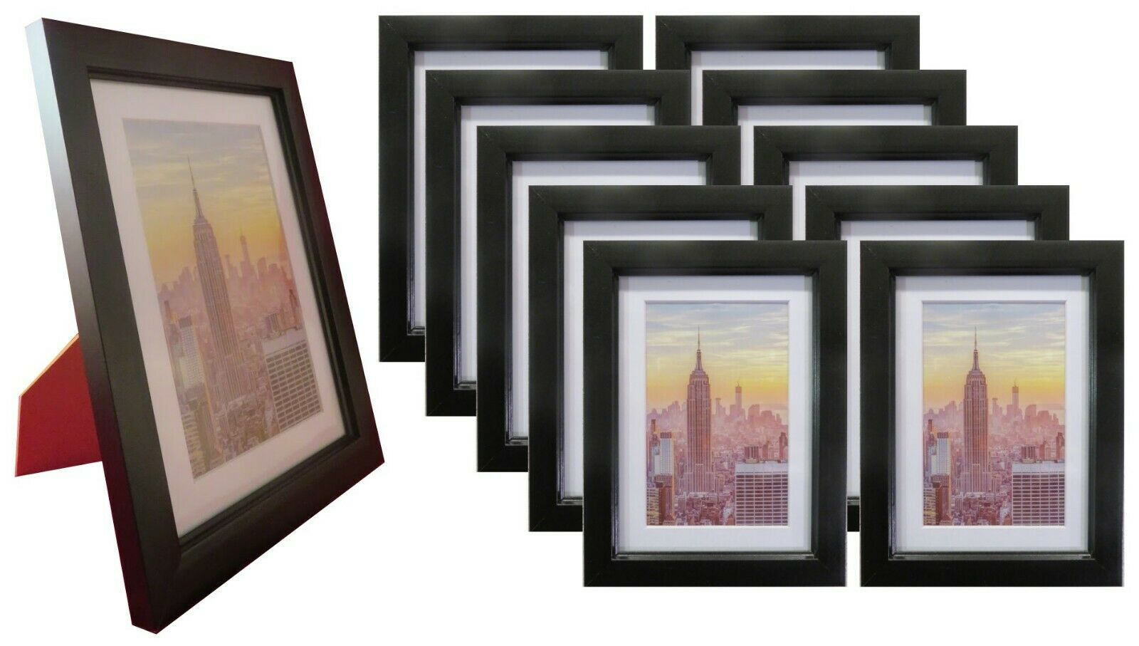 Frame Amo 4x6 Black Wood Picture Frame, Mat for 3x5, Glass F
