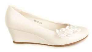 Off White Satin Flower Wedge Heels Wedding Pumps Bridal Shoes