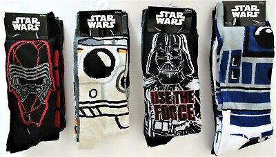 Star Wars Disney Mens' Darth Vader Imperial BB 8 R2-D2 Crew Socks 2 PR 6-12 NWT