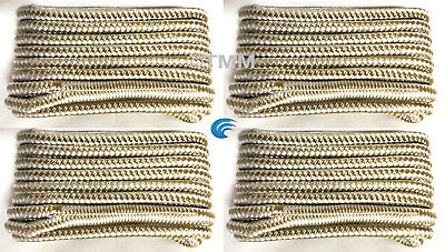 4  Gold White Double Braided 1 2  X 15 Hq Boat Marine Dock Lines Mooring Ropes