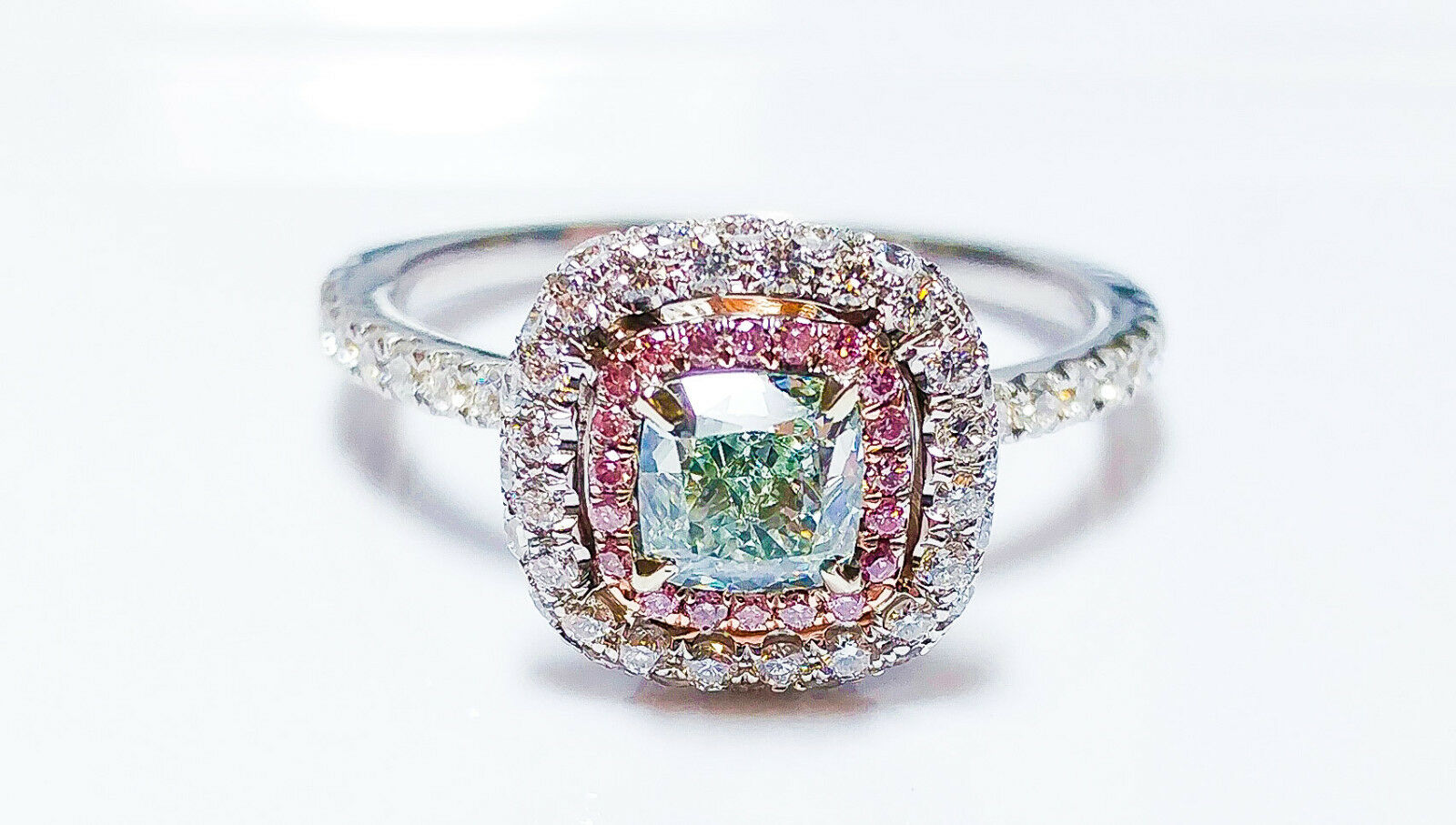 1.31ct Light Green, Argyle 6pp Intense Pink Diamond Engagement Ring GIA 18K VS1 2