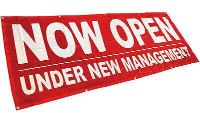 Now Open Under New Management Banner Sign Vinyl Alternative 3x8 Rb Fabric