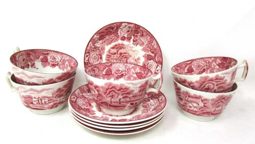 Woods Ware English Scenery - 5 Coffee Tea Cups and Saucers - Pink - Wood & Sons